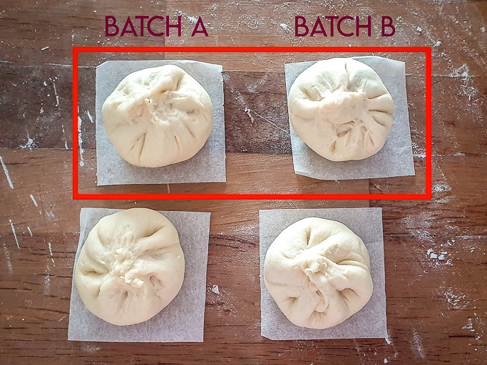 Four char siu bao on the table. The two top ones are marked in a red square, written Batch A and Batch B
