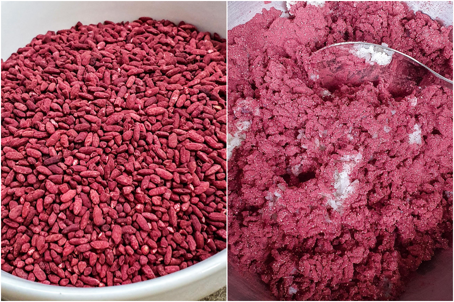 Red yeast rice is ground in a food processor and carefully mixed and massaged into cooled glutinous rice. Photo: Mildred Voon
